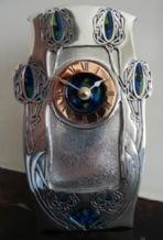 Archibald Knox AK16 Pewter and Enamel Clock
